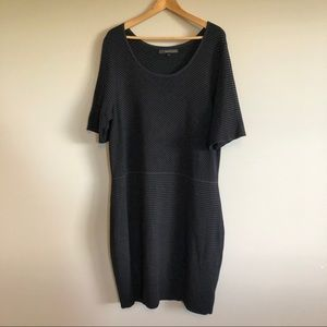 Willow & Thread Black Stripe Knit Bodycon Dress